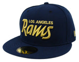 Los Angeles Rams Fitted New Era 59Fifty Gold Script Navy Cap Hat