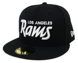 Los Angeles Rams Fitted New Era 59Fifty White Script Black Cap Hat