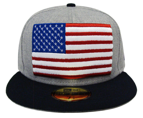 USA Fitted New Era 59Fifty Heather Grand Wool Grey Navy Cap Hat