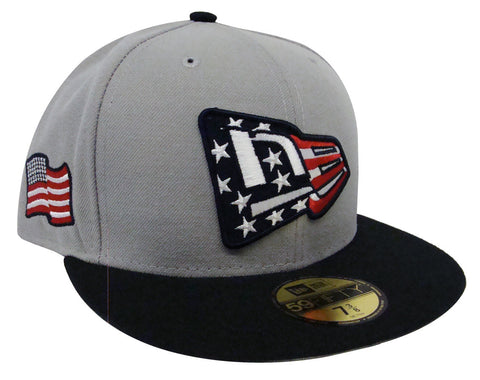 USA Fitted New Era 59Fifty Country Colors New Era Logo Grey Navy Cap Hat