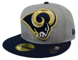 Los Angeles Rams Fitted New Era 59Fifty Heather Grand Wool Grey Navy Cap Hat