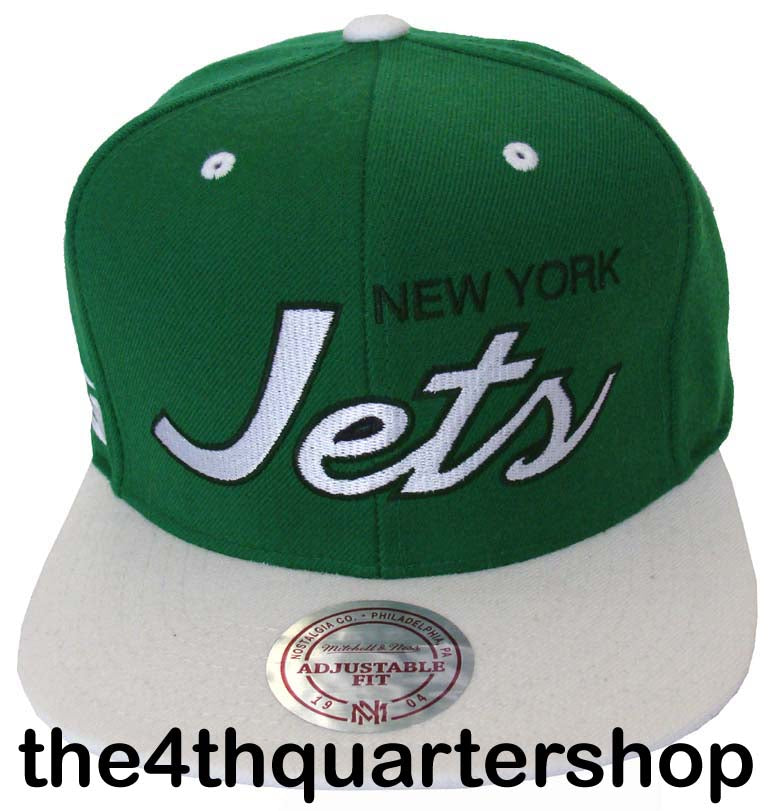 8a3848ee8 New York Jets Snapback Mitchell & Ness Script Cap Hat Green White ...