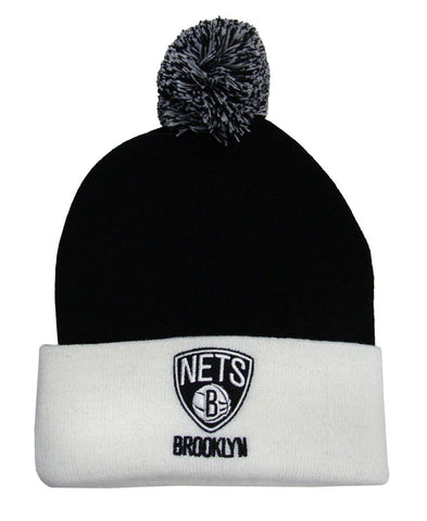 Brooklyn Nets Beanie Embroidered Pom Fold Cap Black White