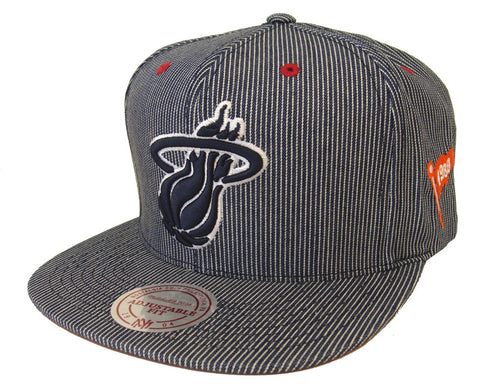 Miami Heat Snapback Style Strapback Mitchell & Ness Engineer Denim Hat Red