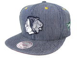 Chicago Blackhawks Snapback Style Strapback Mitchell & Ness Engineer Denim Hat