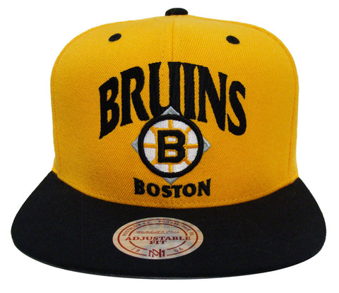 Boston Bruins Snapback Mitchell & Ness Grand Arch Cap Hat All Yellow Black