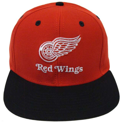 Detroit Red Wings Snapback Retro Name & Logo Cap Hat Red Black