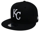 Kansas City Royals New Era White Logo White Snapback Cap Hat Black