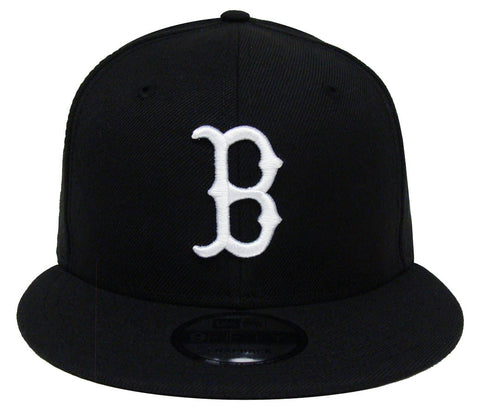 Boston Red Sox New Era White Logo White Snapback Cap Hat Black