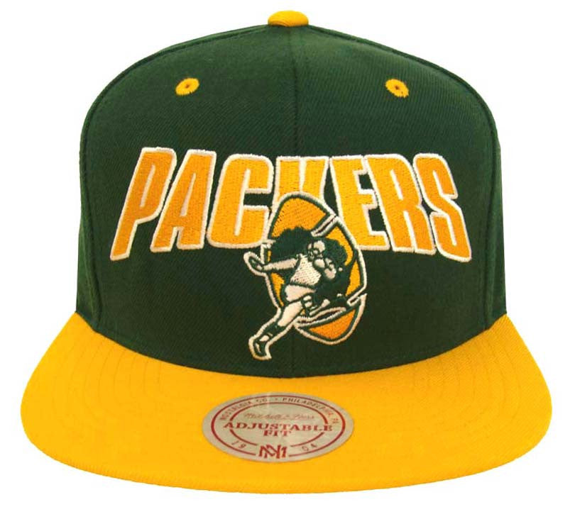 new product 059af 401b4 Green Bay Packers Snapback Mitchell & Ness Flash Cap Green Yellow