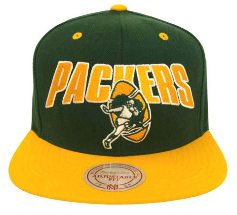 6b0b41f9351 Green Bay Packers Snapback Mitchell   Ness Flash Cap Green Yellow