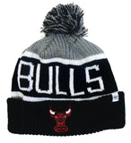 Chicago Bulls Beanie 47 Brand Calgary Pom Top Cuff Knit Ski Cap Hat Grey Black