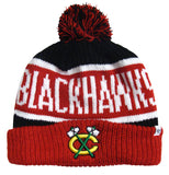 Chicago Blackhawks Beanie 47 Brand Logo Calgary Throwback Pom Top Cuff Knit Hat
