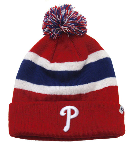 Philadelphia Phillies Beanie Embroidered 47 Breakaway Pom Ski Cap Red