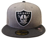 Oakland Raiders Fitted New Era 59FIFTY Heather Blend Cap Hat Size 7 1/8