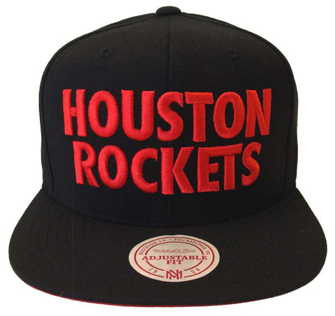 Houston Rockets Mitchell & Ness Title Block Snapback Cap Hat Black