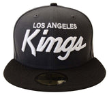 Los Angeles Kings Fitted New Era 59Fifty White Script Charcoal Black Cap Hat