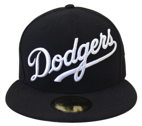 Los Angeles Dodgers Fitted New Era 59FIFTY Wordmark Black Cap Hat