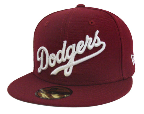d0dbeb7363c47 Los Angeles Dodgers Fitted New Era 59Fifty Wordmark Script Burgundy Cap Hat