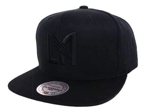 Los Angeles FC Snapback LA logo Mitchell & Ness Black on Black Hat Cap