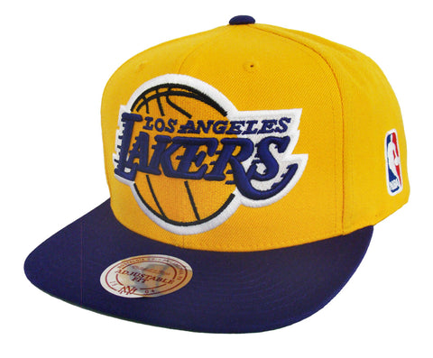 Los Angeles Lakers Snapback Mitchell & Ness XL Logo Cap Hat Yellow Purple