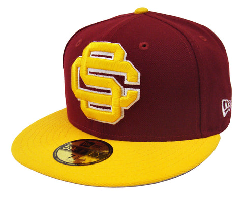 USC Trojans Fitted New Era 59Fifty Logo Grand Burgundy Yellow Cap Hat