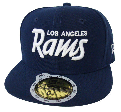 Los Angeles Rams Fitted Kids New Era 59FIFTY Script Cap Hat Navy