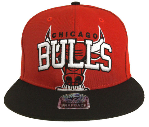 Chicago Bulls Snapback 47 Brand Blockhouse Red Black Cap Hat Flat-brimWool
