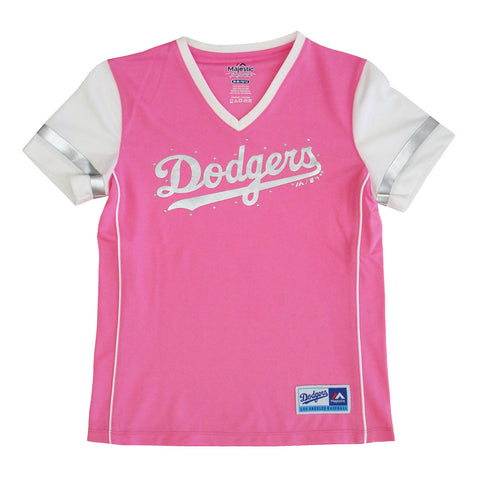 Los Angeles Dodgers Youth T-Shirt Girls Performance V-Neck Pink