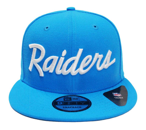 Oakland Raiders Snapback New Era 9Fifty Script Sky Blue Hat Cap