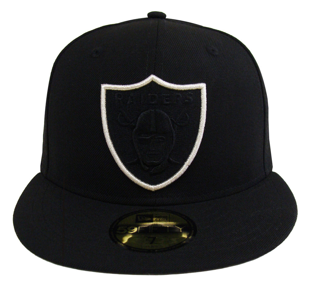 new style a0b53 08f8d Oakland Raiders Fitted New Era 59Fifty Tonal POP Black Cap Hat – THE 4TH  QUARTER