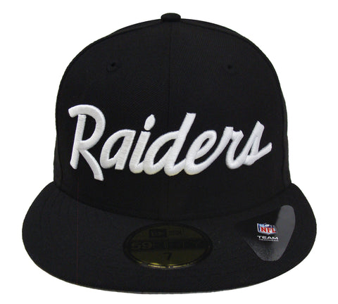Oakland Raiders Fitted New Era 59Fifty Team Script Black Cap Hat