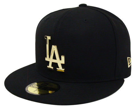 Los Angeles Dodgers Fitted New Era 59Fifty Metal Gold Badge Black Cap Hat