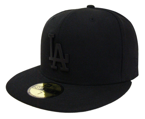 Los Angeles Dodgers Fitted New Era 59Fifty Matte Metal Badge Black Cap Hat