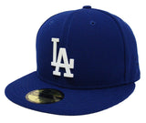 Los Angeles Dodgers Fitted New Era 59Fifty Pearl Logo Badge Blue Cap Hat
