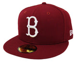 Brooklyn Dodgers Fitted New Era 59FIFTY Logo Cap Hat Burgundy
