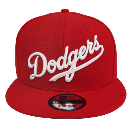 Los Angeles Dodgers Snapback New Era 9Fifty Word Red Cap Hat. Grey Bottom