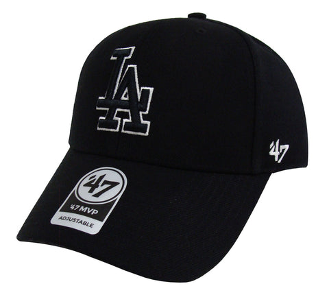 Los Angeles Dodgers Adjustable '47 Brand MVP Cap Hat Velcro Black WO