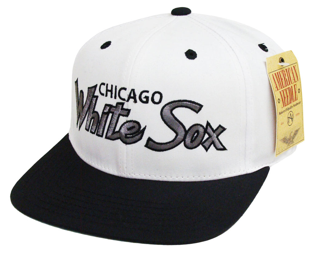 dff72f4b4b2 Chicago White Sox Snapback American Needle Cap Hat Script White Black – THE  4TH QUARTER