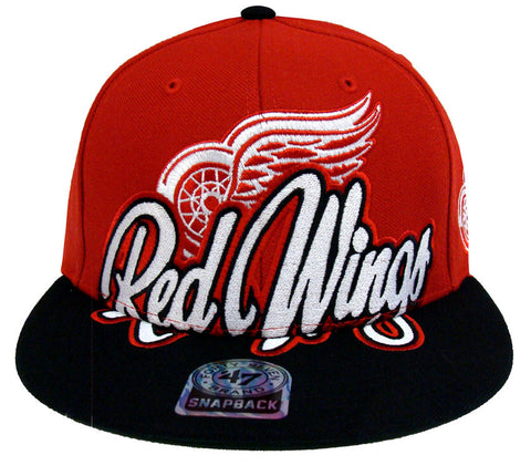 Detroit Red Wings Snapback 47 Brand Retro Slam Dunk Cap Hat Red Black