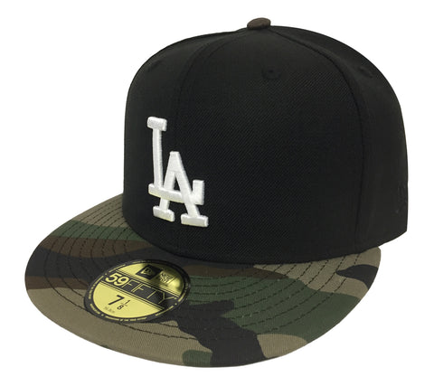 Los Angeles Dodgers Fitted New Era 59FIFTY Black Camo Cap Hat