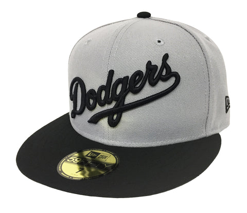 Los Angeles Dodgers Fitted New Era 59FIFTY Wordmark Grey Black Cap Hat