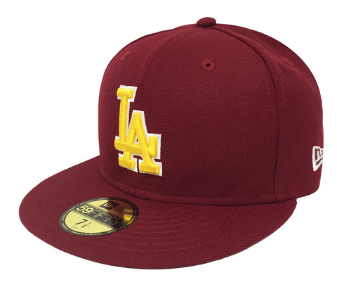 best sneakers ef374 4f097 Los Angeles Dodgers Fitted New Era 59FIFTY USC Colors Burgundy Yellow Cap  Hat