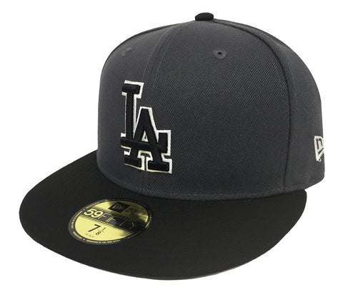 Los Angeles Dodgers Fitted New Era 59FIFTY Charcoal Black Cap Hat