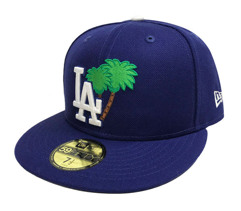 Los Angeles Dodgers Fitted New Era 59Fifty Palm Tree Cap Hat Grey Bottom