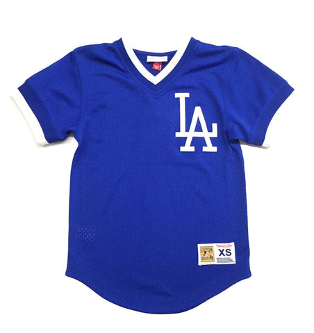 Los Angeles Dodgers Mens Mitchell & Ness Mesh V Neck Jersey Blue
