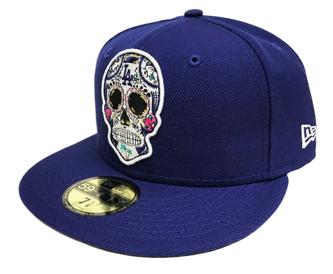 Los Angeles Dodgers Fitted New Era 59FIFTY Day of the Dead Skull Blue Cap Hat
