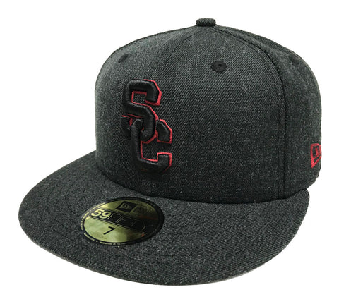 USC Trojans Fitted New Era SC Logo Charcoal Heather Cap Hat