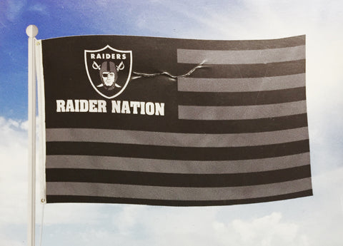 Oakland Raiders Bar Home Decor Flag 3' X 5' Stars & Stripes 'Raider Nation'