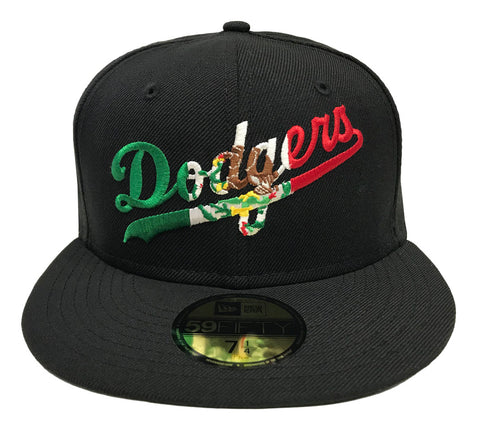 Los Angeles Dodgers Fitted New Era 59Fifty Mexico Wordmark Black Cap Hat
